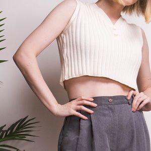 Vintage 90s cream knit Henley sleeveless crop top